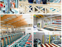 Only three operators for a universal compact production line in a remarkable hall