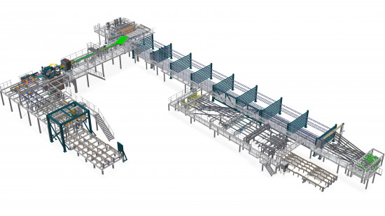 Planing sorting line 300 m/min