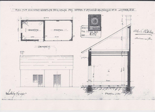The construction plan of the house and the workshop,  Source: Regional archives Maribor